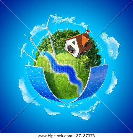 Little planet. Lawn, house and trees. Concept of success and happiness, idyllic ecological lifestyle.