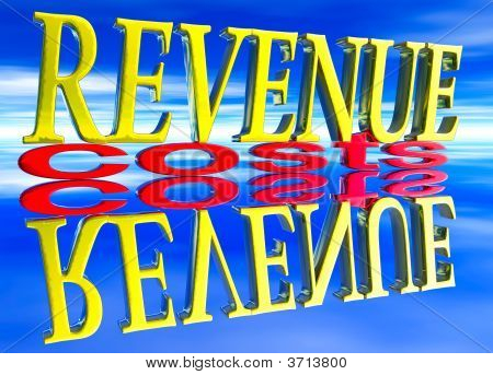 Big Revenue Small Costs Text With Reflection Day