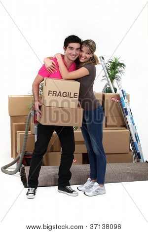 Young couple moving in together