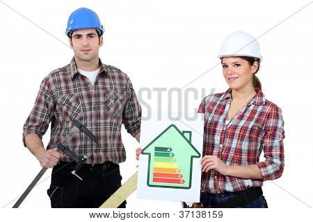 Construction workers holding an energy efficiency rating chart and a clamp