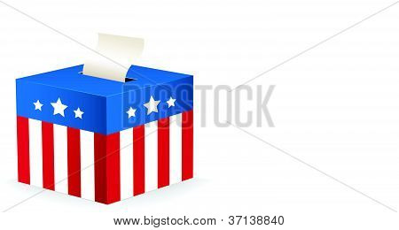 vector image of a ballot box with stars and stripes
