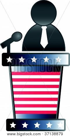 vector image of a podium and speaker