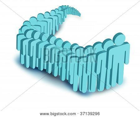 vector image of people in line.