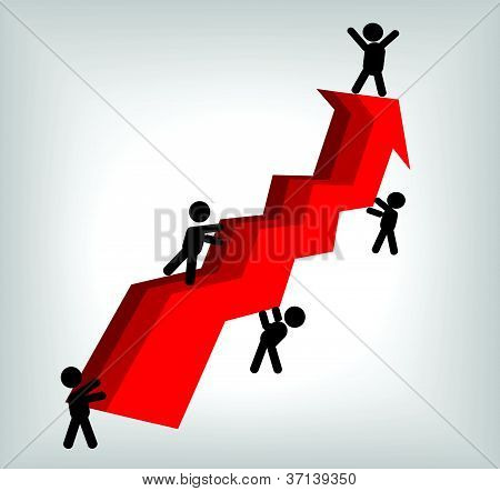 vector image of red arrow line graph