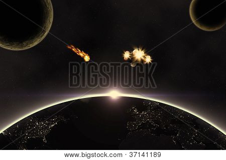 Planets, Asteroid And Spaceship