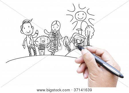 Familie Karikatur von Hand zeichnen