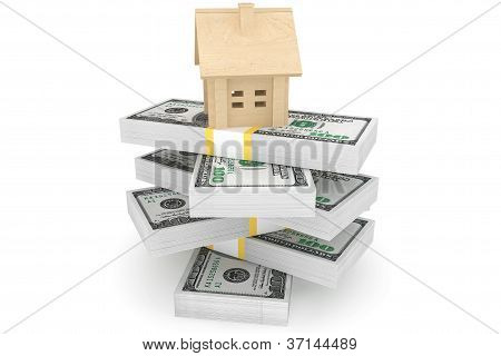 Dollars Banknotes With House