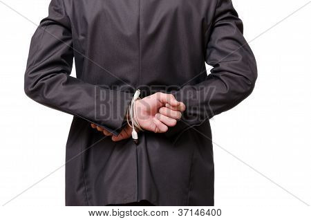 A Businessman Is Tied With A Usb Cable