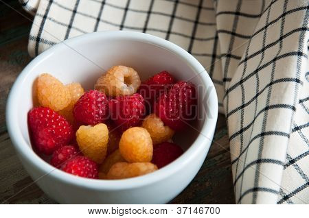 Fresh Red and Amber Raspberries