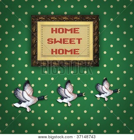 Three Flying Ducks With Picture Frame