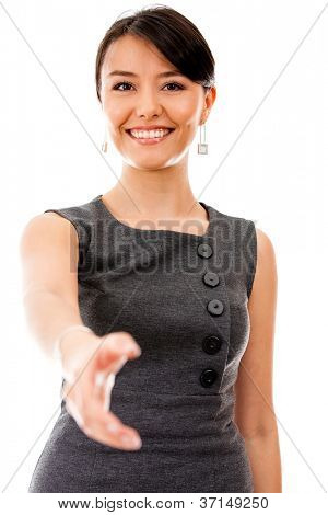 Business woman ready to handshake - isolated over a white background