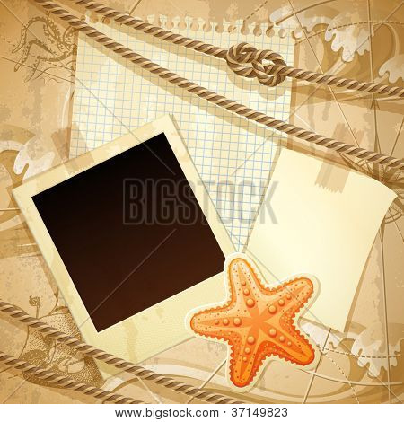 Vntage nautical scrapbook background - raster version