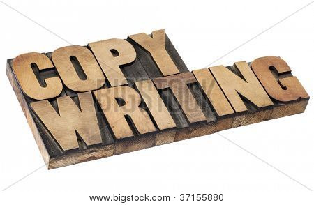 Copywriting - isolierten Wort in Vintage-Buchdruck-Holz-Art