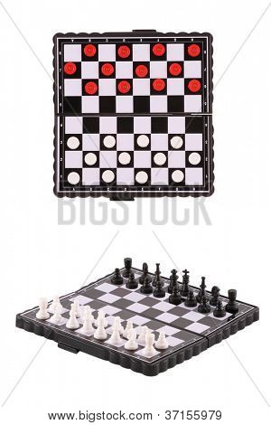 The image of chessboards with draughts and chess