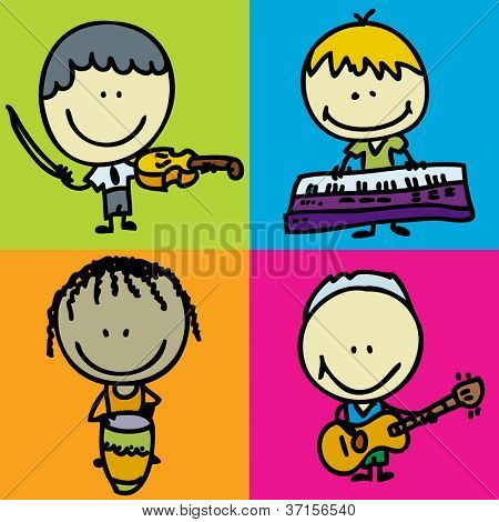 Icon set of doodle happy children band with musical instruments