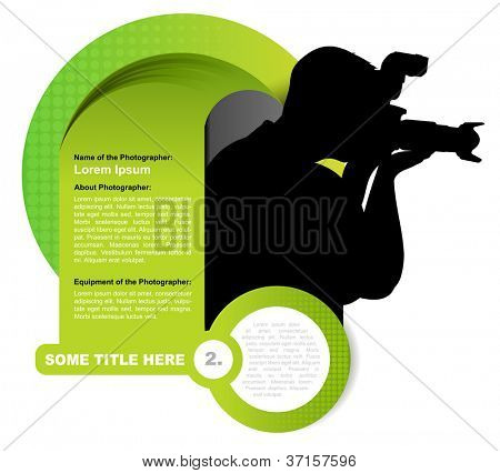 Resumen Antecedentes vector verde con silueta de fotógrafo