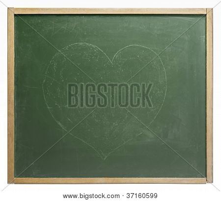 Blackboard With Painted Heart Shape