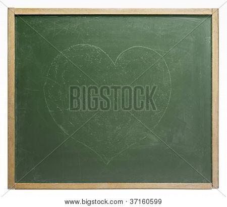 Blackboard With Painted Heart Shape