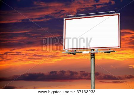 Blank White Billboard Over Evening Sky For Your Advertisement