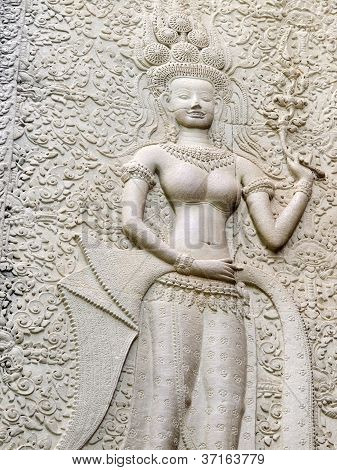 Dancing Apsara On The Wall Of Angkor Wat