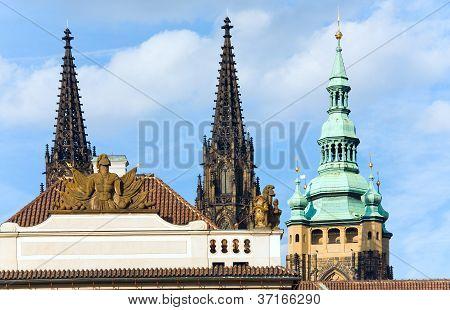 Hradcany Castle Tops In Prague, Czech Republic.
