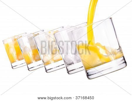 Glass With Fresh Multifruit Juice On White