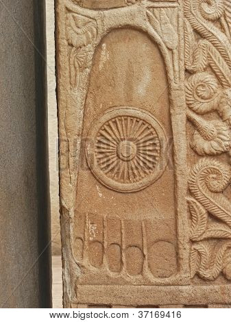 Relief of Buddha's footprints on North gate, Sanchi Stupa