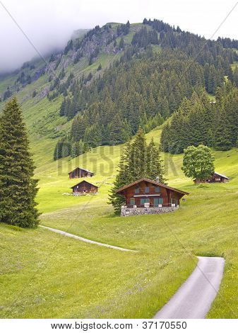 Swiss Styled Huts In The Alps Valley