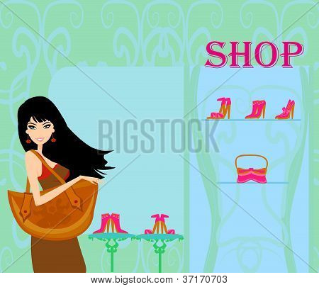 Fashion girl shopping in shoe shop vector illustration
