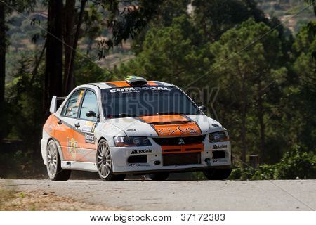 Pombal, Portugal - September 22: Miguel Barbosa Drives A Mitsubishi Lancer Evo Ix During Rally Centr