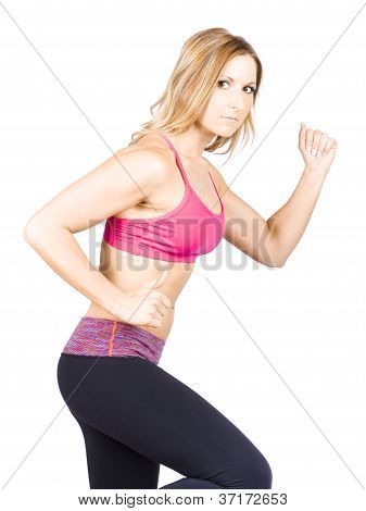 Woman Running During Wellness Workout On White