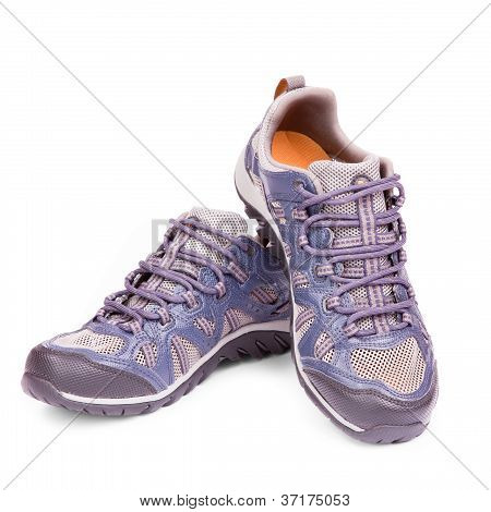 New Running Shoe Isolated On White Background. Isolation Path Is Included