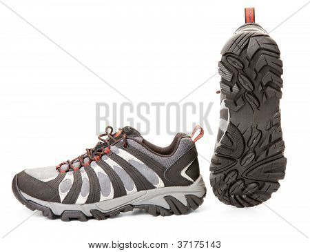 New Hiking Shoes Isolated On White. Isolation Path Included