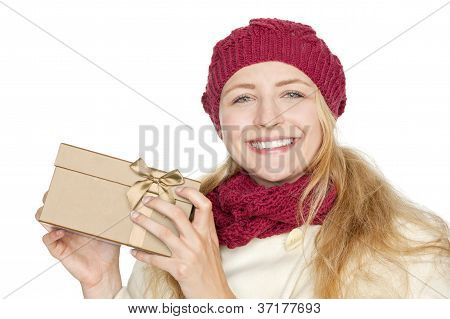 blond woman get a gift for christmas