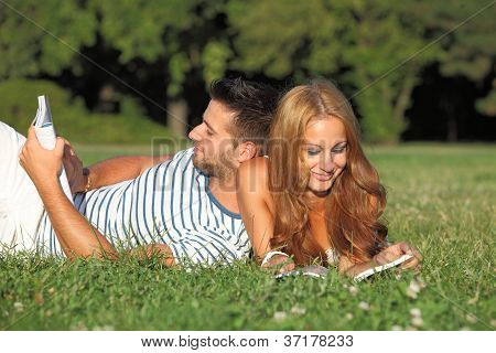 Cute couple in the nature