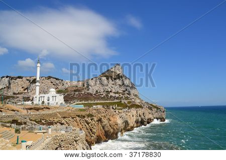 Rock of Gibraltar and Gibraltar Mosque from Europa Point