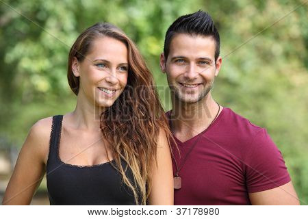 Happy couple in the nature