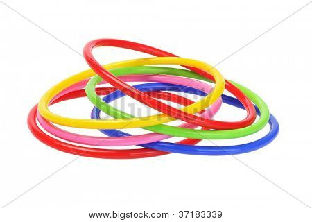 Multicolor Plastic Bangles on White Background