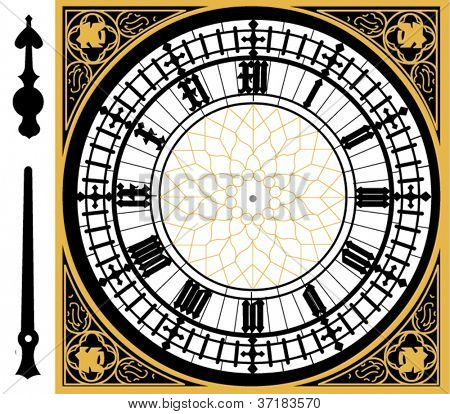 Big ben clock in very high detail - vector - layered and grouped