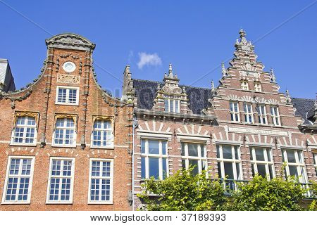Typical Dutch Houses In Haarlem, The Netherlands