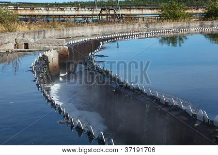 Drainage For Clean Water In Sedimentation Reservoir In Sewage Plant
