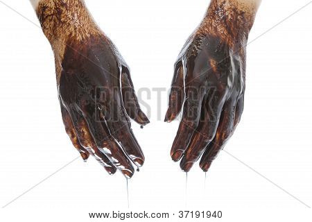 Caucasian Hands Stained With Black Oil Isolated On White Background