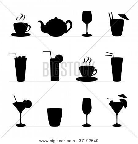 Set of vector illustration of different drinks and cocktails,tablewares. Black silhouette .
