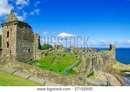 St Andrews Castle Ruins Medieval Landmark. Fife, Scotland.