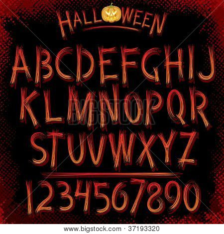 Grunge Halloween Font. Collection of Latin Letters