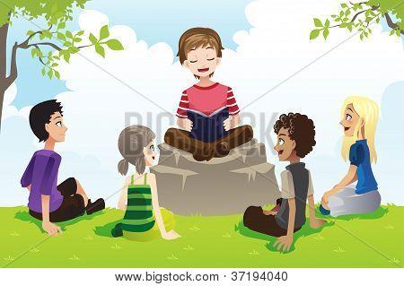 Kids Studying Bible