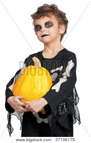 Portrait of little boy wearing halloween costume with pumpkin on white background