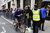 LONDON, UK - SEPTEMBER 21: People queuing in Hanover Street to buy the new iPhone 5 on September 21,
