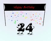 image of 24th  - Illustration for 24th birthday party with cartoon numbers - JPG
