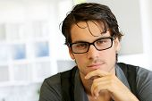 picture of single man  - Portrait of handsome young man with glasses - JPG